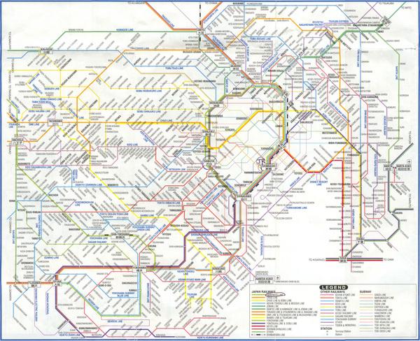 Карта линий метро города Токио (Tokyo subway map) .